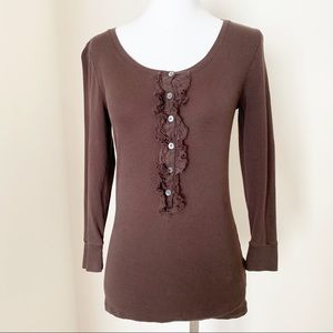 J. CREW Ruffle Henley Cotton Solid Brown Shirt